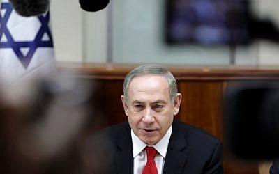 Prime Minister Benjamin Netanyahu chairs the weekly cabinet meeting in Jerusalem on February 5, 2017. (AFP/AP and pool/Dan Balilty)