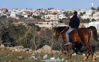 A picture taken on February 5, 2017 from the West Bank city of Hebron shows a Palestinian boy riding a horse, with the Israeli settlement of Givat Harsina appearing in the background. / AFP PHOTO / HAZEM BADER