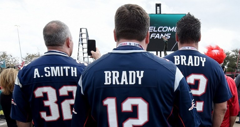 3bfbd5512 Fans arrive for Super Bowl LI between the New England Patriots and the  Atlanta Falcons at