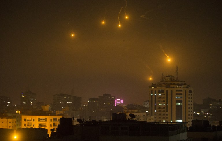 Illustrative Flares fired by Israeli forces to check the border are seen over Gaza City