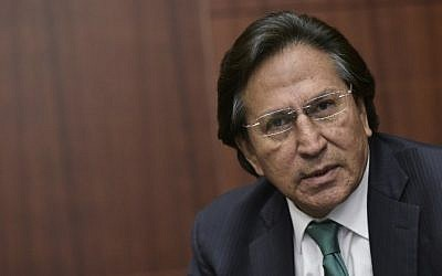 This file photo taken on June 17, 2016 shows former Peruvian President (2001-2006) Alejandro Toledo speaking during a discussion on Venezuela and the OAS at The Center for Strategic andInternational Studies (CSIS) in Washington, DC. (AFP PHOTO / Mandel Ngan)