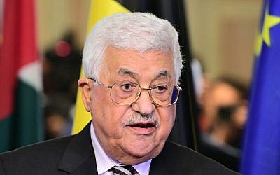 Palestinian Authority President Mahmoud Abbas speaks during a press conference after meeting with Belgian Prime Minister in Brussels on February 9, 2017. (AFP/Emmanuel Dunand)