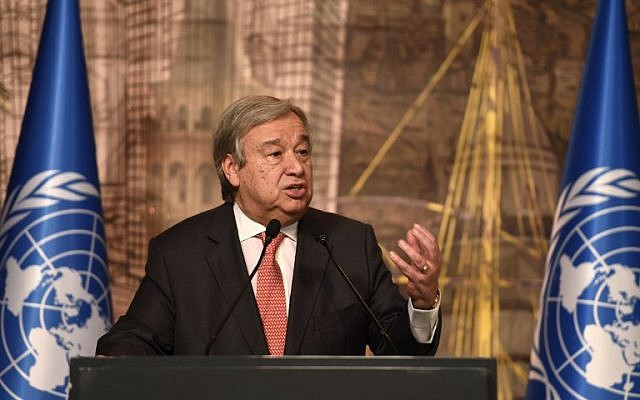 UN Secretary-General Antonio Guterres delivers a speech during a press conference in Istanbul, February 10, 2017. (AFP/OZAN KOSE)