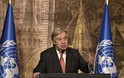 UN Secretary-General Antonio Guterres delivers a speech during a press conference with Turkish Prime Minister Binali Yildirim (unseen) on February 10, 2017 in Istanbul. (AFP/Ozan Kose)