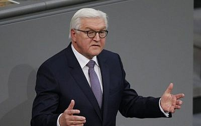 Newly elected German President Frank-Walter Steinmeier delivers a speech after the presidential election at the Bundesversammlung federal assembly Bundestag (lower house of parliament) on February 12, 2017, in Berlin. (AFP PHOTO / Axel Schmidt)