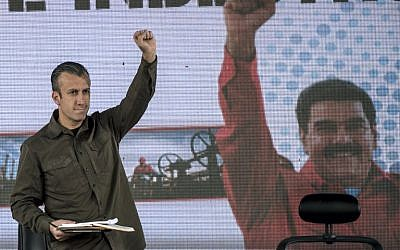 This file photo taken on January 31, 2017 shows Venezuelan Vice-President Tareck El Aissami gesturing during a rally with workers of PDVSA state-owned oil company in Caracas. (AFP PHOTO / Juan BARRETO)