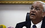 Palestinian chief negotiator and Secretary General of the Palestine Liberation Organisation (PLO), Saeb Erekat, speaks during a press conference in the West Bank city of Jericho on February 15, 2017. (AFP/Ahmad Gharabli)