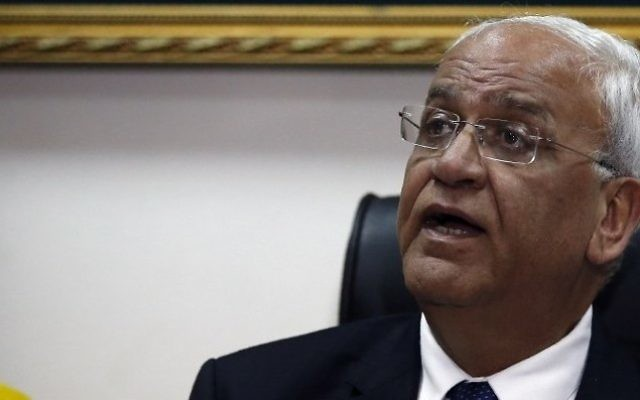 Palestinian chief negotiator and secretary general of the Palestine Liberation Organization, Saeb Erekat, during a press conference in the West Bank city of Jericho on February 15, 2017. (AFP/Ahmad Gharabli)