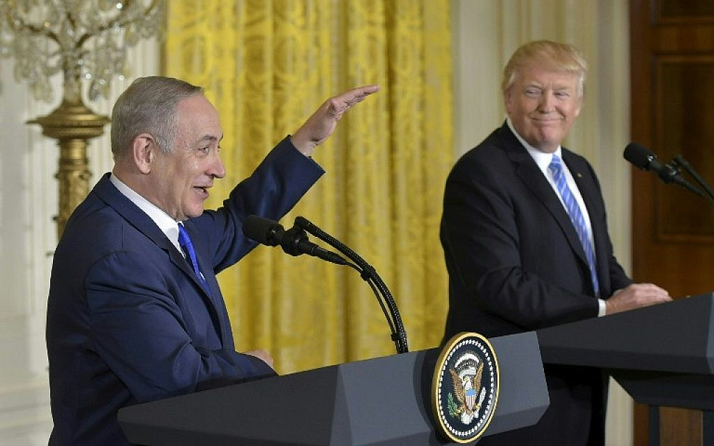 US President Donald Trump and Israeli Prime Minister Benjamin Netanyahu, left, hold a joint press conference at the White House in Washington, DC, February 15, 2017. (AFP/Mandel Ngan)
