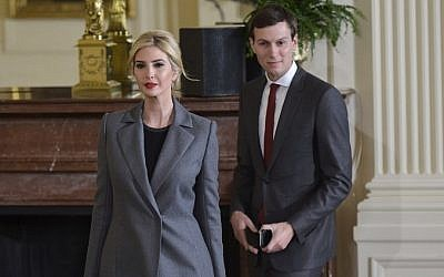 Ivanka Trump and Jared Kushner arrive for a joint press conference by US President Donald Trump and Prime Minister Benjamin Netanyahu in the East Room of the White House on February 15, 2017 in Washington, DC. (AFP/Mandel Ngan)