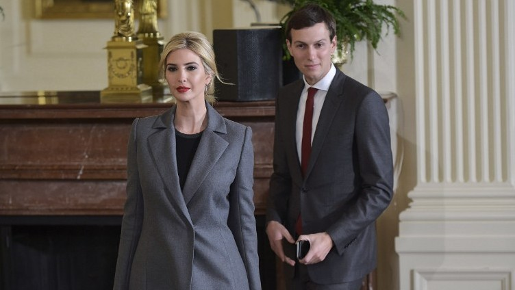Ivanka Trump and Jared Kushner arrive for a joint press conference by US President Donald Trump and Israel's Prime Minister Benjamin Netanyahu in the East Room of the White House on February 15, 2017 in Washington, DC. (AFP/Mandel Ngan)