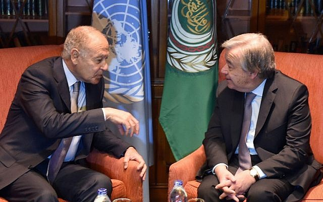 Arab League Secretary-General Ahmed Aboul Gheit (L) meets with United Nations Secretary-General António Guterres in Cairo on February 16, 2017. (Mohamed El-Shahed/AFP)