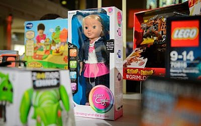 The talking doll 'My Friend Cayla' on display at a 2014 toy fair in London. German regulators banned the internet-connected doll, warning on February 17, 2017 that it was a de facto 'spying device'. (AFP PHOTO/LEON NEAL)