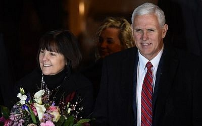 US Vice President Mike Pence and his wife Karen Pence at the Munich Security Conference in Munich, southern Germany, on February 17, 2017. (AFP/Christof Stache)