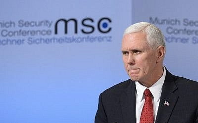 US Vice President Mike Pence delivers a speech on the 2nd day of the 53rd Munich Security Conference (MCS) in Munich, southern Germany, on February 18, 2017. (AFP PHOTO / THOMAS KIENZLE)