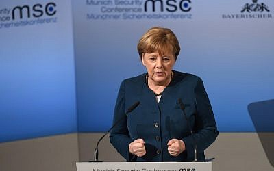 German Chancellor Angela Merkel delivers a speech on the second day of the 53rd Munich Security Conference in Munich, southern Germany, on February 18, 2017. (AFP/Christof Stache)