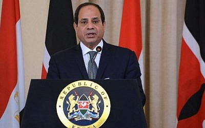 Egyptian President Abdel Fattah al-Sisi speaks during a press conference, at the State House in Nairobi, February 18, 2017. (AFP/SIMON MAINA)