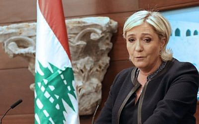 France's far-right presidential candidate Marine Le Pen speaks during a press conference at the Presidential palace of Lebanese city of Baabda, on February 20, 2017. (AFP Photo/Anwar Amro)