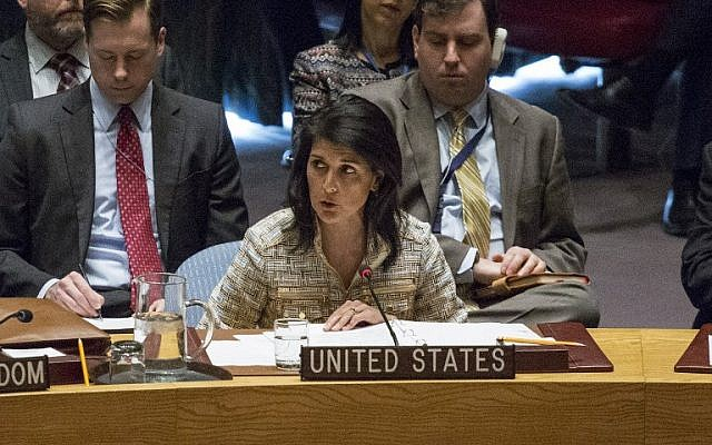 US Ambassador to the United Nations Nikki Haley speaks at a Security Council meeting on February 21, 2017 at UN Headquarters in New York. (Kena Betancur/AFP)