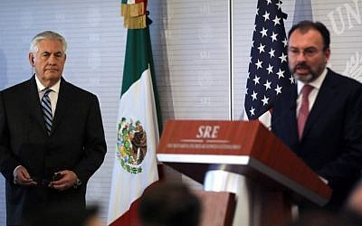 US Secretary of State Rex Tillerson, left, listens to Mexican Foreign Minister Luis Videgaray as they offer a joint press conference at the Foreign Ministry building in Mexico City on February 23, 2017. (Carlos Barria/Pool/AFP)