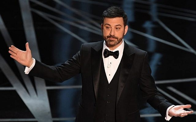 Host Jimmy Kimmel delivers a speech on stage at the 89th Oscars on February 26, 2017 in Hollywood, California. (Mark Ralston/AFP)