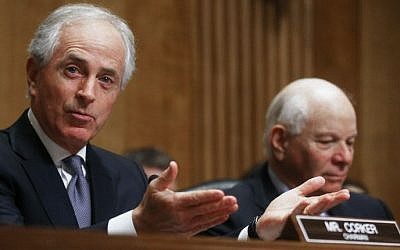 Chairman Bob Corker (R-TN) left,, speaks as Sen. Benjamin Cardin (D-MD) sits at a Senate Foreign Relations Committee hearing in Washington DC, February 9, 2017. (Mario Tama/Getty Images/AFP)
