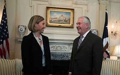 US Secretary of State Rex Tillerson (R) meets with European Union High Representative Federica Mogherini (L) at the State Department February 9, 2017 in Washington, DC. (Alex Wong/Getty Images/AFP)