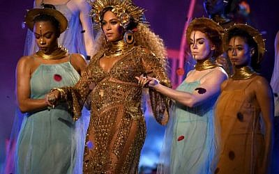 Beyonce performs onstage during The 59th Grammy Awards at the Staples Center on February 12, 2017, in Los Angeles, California. (Kevork Djansezian/Getty Images/AFP)