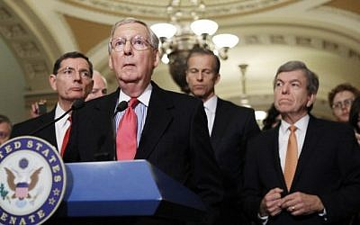 From left to right, Sen. John Barrasso (R-WY), Senate Majority Leader Mitch McConnell (R-KY), Sen. John Thune (R-SD) and Sen. Roy Blount (R-MO) stand during a news conference on Capitol Hill following a policy lunch on February 14, 2017 in Washington, DC. Mario Tama/Getty Images/AFP)