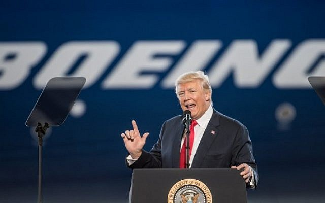 US President Donald Trump addresses a crowd during the debut event for the Dreamliner 787-10 at Boeing's South Carolina facilities on February 17, 2017 in North Charleston, South Carolina.(Sean Rayford/Getty Images/AFP)