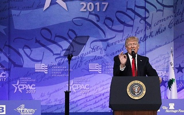 US President Donald Trump addresses the Conservative Political Action Conference at the Gaylord National Resort and Convention Center February 24, 2017 in National Harbor, Maryland. Alex Wong/Getty Images/AFP)