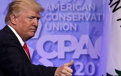 US President Donald Trump acknowledges the crowd after he addressed the Conservative Political Action Conference at the Gaylord National Resort and Convention Center February 24, 2017 in National Harbor, Maryland. (Alex Wong/Getty Images/AFP)