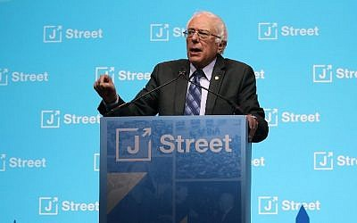 Sen. Bernie Sanders delivers a speech during J Streets 2017 National Conference at the Washington Convention Center, on February 27, 2017 in Washington, DC.  (Mark Wilson/Getty Images/AFP)