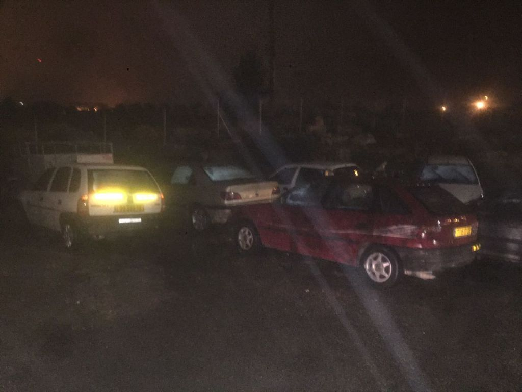 Unregistered automobiles confiscated by the IDF from the Palestinian village of Husan, outside Bethlehem, early in the morning on February 15, 2017. (IDF Spokesperson's Unit)
