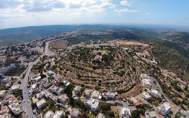 Aerial view of biblical tel believed to be site of ancient Kiryat Ye'arim, west of Jerusalem. (courtesy of William Schlegel)