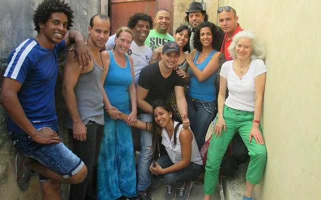 Frank London (fourth from right) with librettist Elise Thoron (far right) and members of Opera de la Calle cast and crew of 'Hatuey: Memory of Fire' in Havana, Cuba, February 2017 (Facebook)