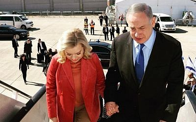 Prime Minister Benjamin Netanyahu and his wife, Sara, set off for a week-long state visit to Singapore and Australia, February 19, 2017. (GPO/Haim Zach)