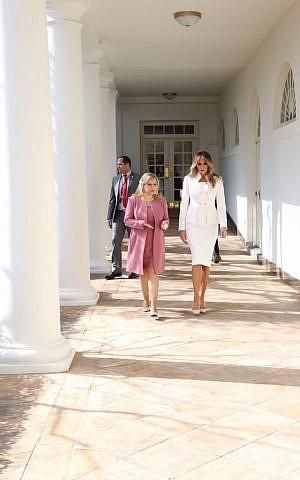 Sara Netanyahu and Melania Trump walk outside the White House on February 15, 2017 (Shmulik Armani)