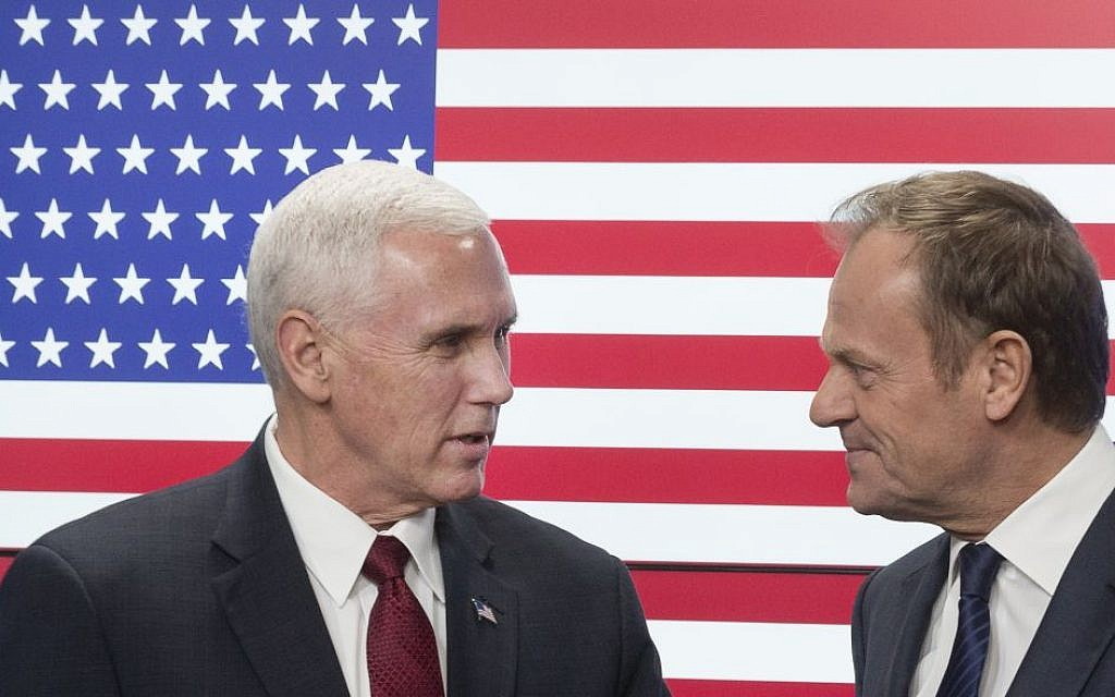 United States Vice President Mike Pence, left, and EU Council President Donald Tusk pose for photographers as Pence arrives at the European Council building in Brussels, Belgium, on Monday, Feb. 20, 2017.  (AP Photo/Thierry Monasse)