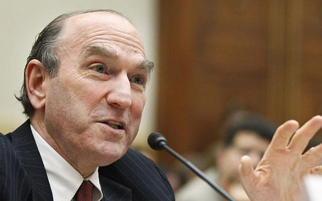 Elliott Abrams testifies on Capitol Hill in Washington, Wednesday, Feb. 9, 2011, before the House Foreign Affairs Committee hearing. (AP Photo/Manuel Balce Ceneta)