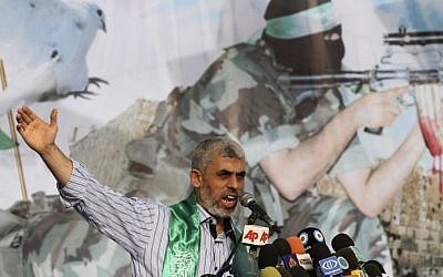 Senior Hamas leader Yahya Sanwar talks during a rally in Khan Younis, southern Gaza Strip, Friday, October 21, 2011(AP Photo/Hatem Moussa)