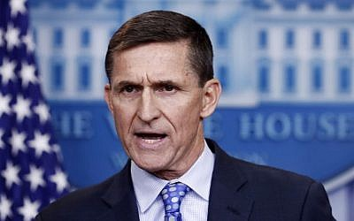 Then-National Security Adviser Michael Flynn speaks during the daily news briefing at the White House, in Washington, Wednesday, Feb. 1, 2017. Flynn said the administration was putting Iran 'on notice' after it tested a ballistic missile. (AP Photo/Carolyn Kaster)