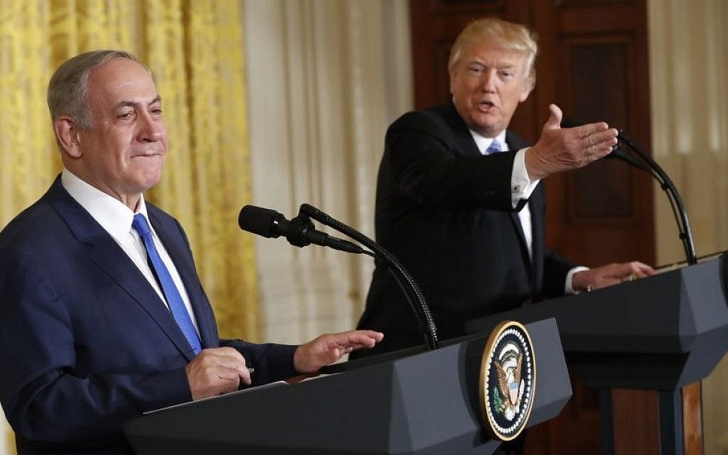 President Donald Trump and Prime Minister Benjamin Netanyahu participate in a joint news conference in the East Room of the White House in Washington, Wednesday, Feb. 15, 2017. (AP Photo/Pablo Martinez Monsivais)
