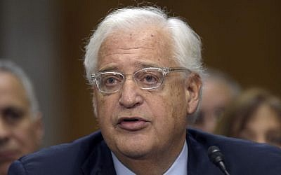 David Friedman, nominated to be US Ambassador to Israel, testifies on Capitol Hill in Washington, Thursday, Feb. 16, 2017, at his confirmation hearing before the Senate Foreign Relations Committee. (AP Photo/Susan Walsh)