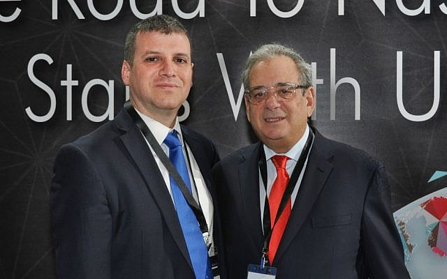 Oded Har-Even, managing partner at Zag/S&W, left, and Robert Eide, the founder and chief executive officer of Aegis Capital Corp. in Tel Aviv, Feb. 2016 (Courtesy)