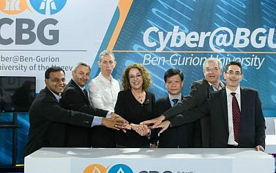 NTU Singapore and Ben-Gurion University (BGU) join forces at the CyberTech Conference in Tel Aviv on January 31 2017 to develop ways to fight advanced cyber threats. Representatives from both universities include BGU President Prof Rivka Carmi, fourth from left, and NTU Singapore Chief of Staff and Vice-President (Research) Prof Lam Khin Yong , third from right (Courtesy: Dani Machlis/BGU)