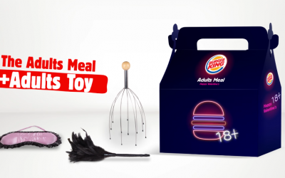 """Screen capture of Burger King's Valentine's Day """"Adult-Meal"""" promotion for customers 18 and older. Meal comes with either a feather tickler, blindfold or scalp massager. (Screen capture/YouTube)"""