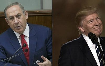 Prime Minister Benjamin Netanyahu and US President Donald Trump. (Ohad Zweigenberg/POOL/Flash90; Brendan Smialowski/AFP)