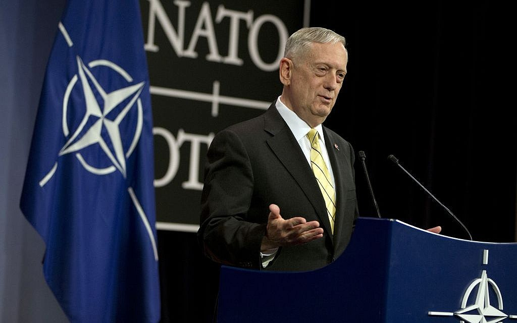 US Secretary of Defense Jim Mattis speaks during a media conference at NATO headquarters in Brussels on Thursday, Feb. 16, 2017. (AP Photo/Virginia Mayo)
