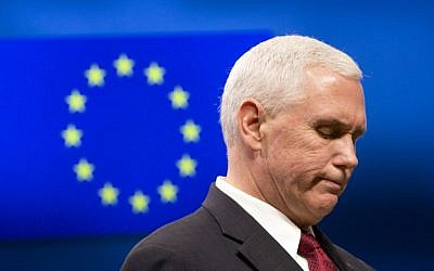 United States Vice President Mike Pence pauses before speaking during a media conference at the EU Council building in Brussels on Monday, Feb. 20, 2017. Photo/Virginia Mayo, Pool)